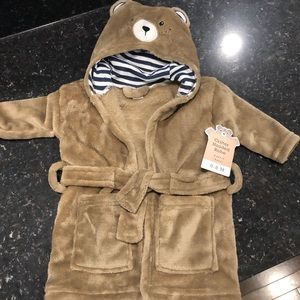 Hooded bear bath robe